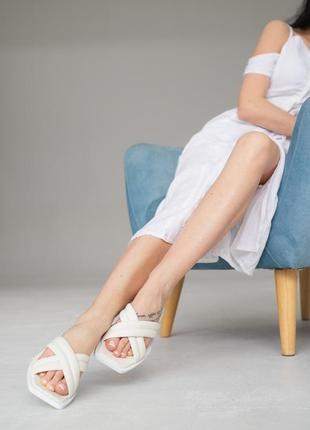 Шлепанцы женские натуральная кожа в белом цвете