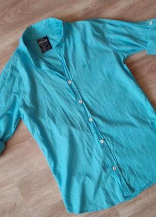 Хлопковая рубашка с откатным рукавом