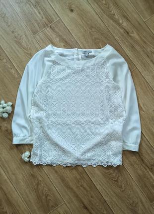 Блуза гипюровая с рукавом кремового цвета