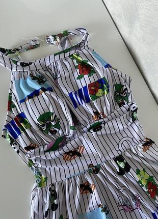 Слитный цельный купальник платье в полоску в японском стиле