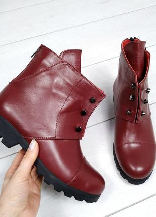 36-41 р деми/зима ботинки, ботильоны черные, бордо натуральная кожа, замш