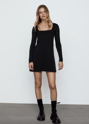 Платье мини zara стильное трикотажное новая коллекция