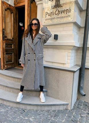 Самое трендовое пальто в стиле z❤️ двубортное,со шлицей,  в вечно актуальном принте гусиная лапка - можно носить под пояс - отличный осенний образ 👌