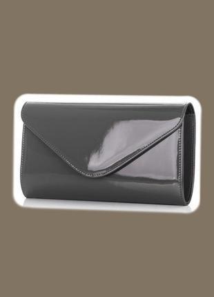 Серая лакированная базовая нарядная сумка клатч конверт felice zara