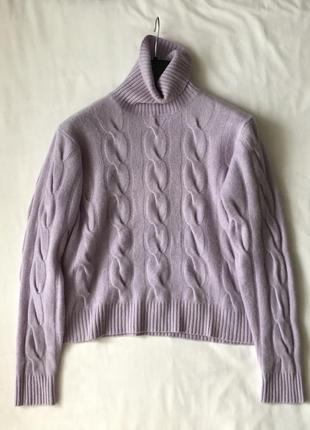 Кашемировый свитер гольф. лиловый. кашемир 100%