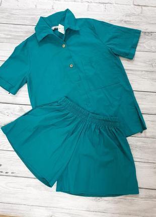 Скидка! акция! льняной летний женский костюм (шорты и рубашка оверсайз) цвет морской волны, лен
