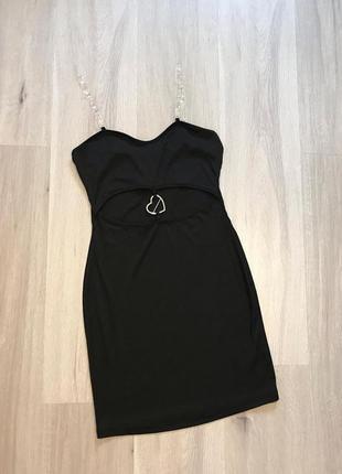 Шикарна нова чорна сукня міні рубчик новое черное платье мини shein xs/s