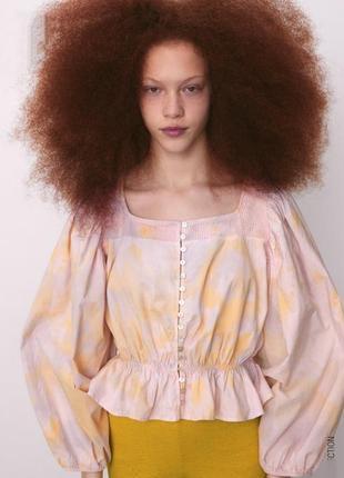 Блуза с принтом тай дай от zara❤️, блузка з рукавами буфами