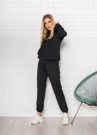 Женский спортивный костюм однотонный модный, толстовка свитшот с капюшоном, брюки джоггеры двунитка3 фото