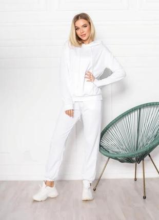 Женский спортивный костюм однотонный модный, толстовка свитшот с капюшоном, брюки джоггеры двунитка5 фото