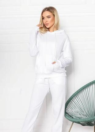 Женский спортивный костюм однотонный модный, толстовка свитшот с капюшоном, брюки джоггеры двунитка6 фото