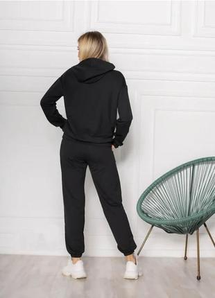 Женский спортивный костюм однотонный модный, толстовка свитшот с капюшоном, брюки джоггеры двунитка4 фото