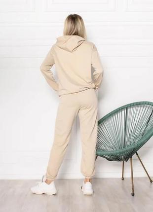 Женский спортивный костюм однотонный модный, толстовка свитшот с капюшоном, брюки джоггеры двунитка2 фото