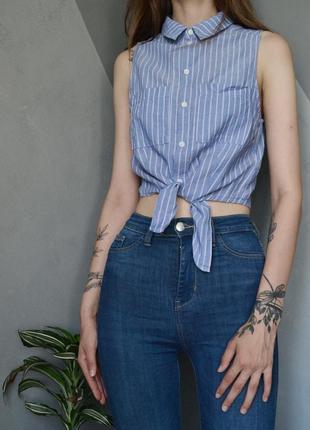 Стильная короткая рубашка без рукавов в полоску с узлом h&m