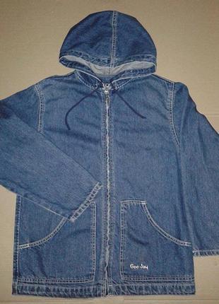 Куртка джинсовая на молнии с капюшоном коттон 100%