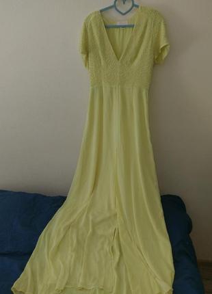 Вечернее лимонное платье