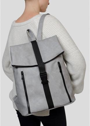 Жіночий рюкзак світло-сірий нубук