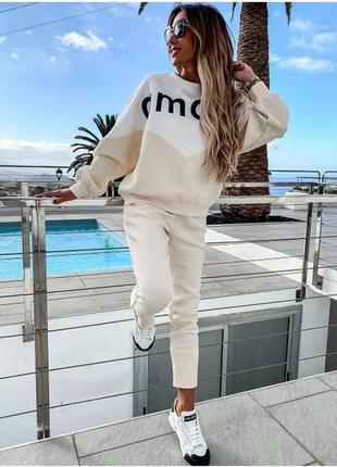 Женский спортивный костюм с надписью amour, брюки джоггеры и кофта из двунитки