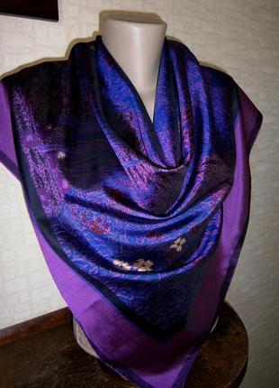 Красивый платок из натурального шелка с ручной росписью.6 фото
