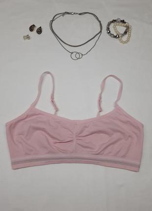 Идеальный розовый пудровый рожевий хлопковый топ топик для спорта фитнеса на каждый день на тонких бретелях шлейках