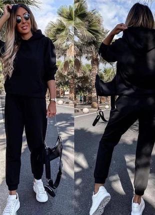 Женский спортивный костюм однотонный двунить, толстовка свитшот с капюшоном и брюки джоггеры2 фото