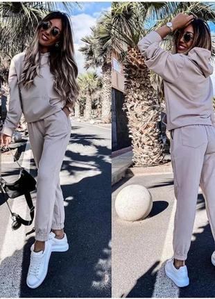 Женский спортивный костюм однотонный двунить, толстовка свитшот с капюшоном и брюки джоггеры3 фото