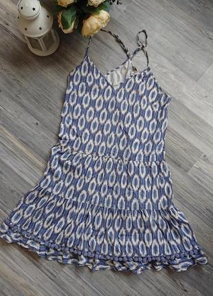 Натуральный легкий летний сарафан с помпончиками платье хлопок р.s/m