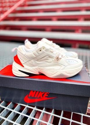 Nike m2k tekno white orange red кроссовки найк женские м2к техно
