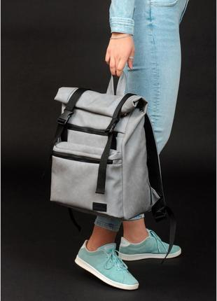 Рюкзак ролл  унісекс  світло-сірий нубук