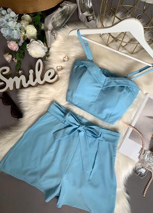 Костюм летний топ и шорты голубой розовый цветочный принт