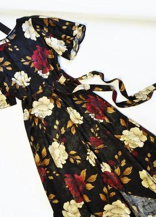 Платье летнее в цветы с асимметрией по низу вискоза