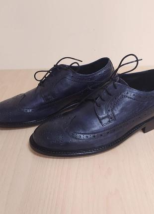 Кожаные мужские туфли оксфорды италия классика броги