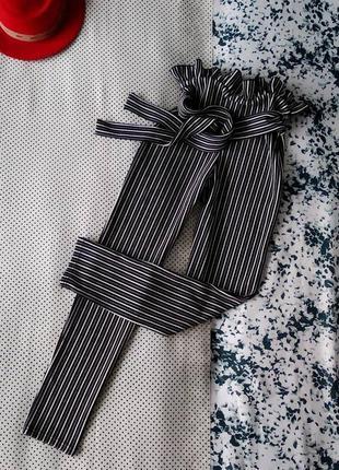 Леггинсы лосины брюки штаны в полоску с поясом и сборкой на талии