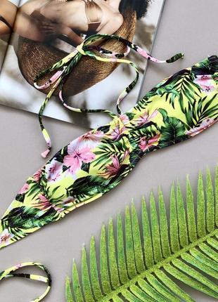 Лиф бандо в тропический принт от купальника h&m