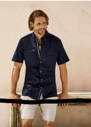 Мужская рубашка лен/хлопок с коротким рукавом