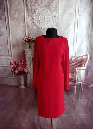 Стильное платье миди красное