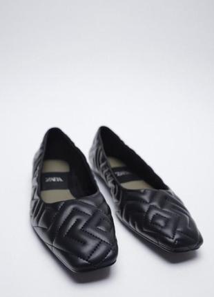 Черные стёганые прошитые балетки мокасины с квадратным носом zara