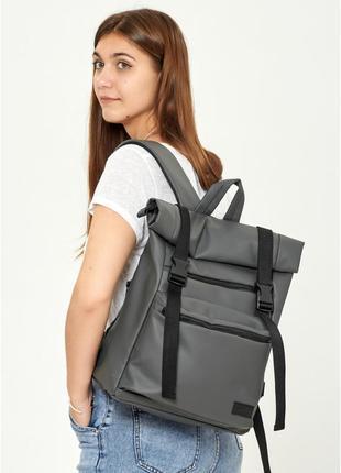 Жіночий рюкзак ролл  графітовий