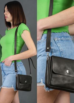 Женская сумочка кросс-боди из натуральной кожи итальянский краст кофейная коричневая