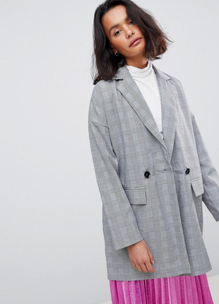 Шикарный оверсайз пиджак блейзер в клетку бойфренд vero moda