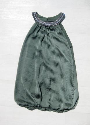 Зелёная блуза майка с ожерельем на резинке dorothy perkins