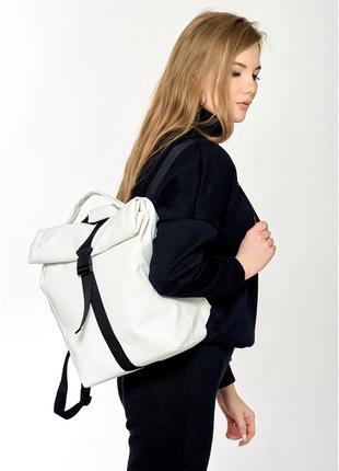 Рюкзак ролл унісекс білий2 фото