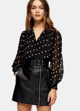 Шикарная блуза принт сердечки с объёмными рукавами