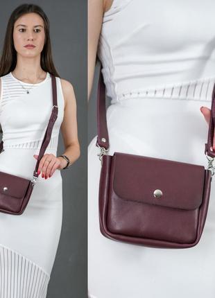 Женская маленькая сумочка из натуральной кожи итальянский краст бордовая