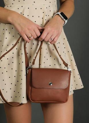 Женская сумочка кросс-боди из натуральной кожи итальянский краст коричневая