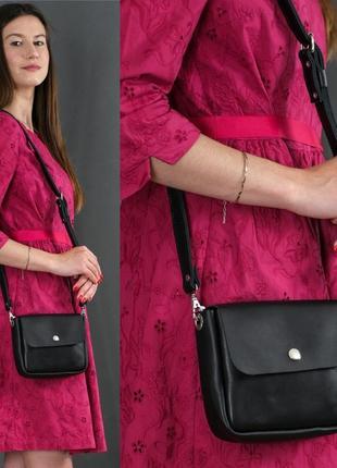 Женская сумочка кросс-боди из натуральной кожи итальянский краст черная