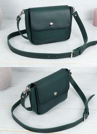 Женская маленькая сумочка из натуральной кожи итальянский краст зеленая