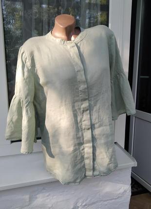 Льняная блуза с широкими рукавами большой размер