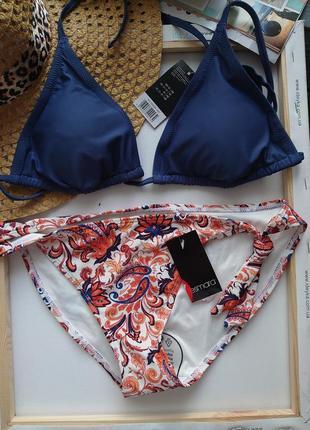 Esmara 40 eur зборний раздельний бикини треугольник синий персик