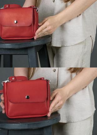 Женская маленькая сумочка из натуральной кожи итальянский краст красная